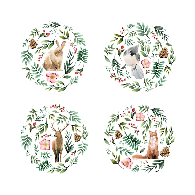 Animales salvajes con flores y hojas pintadas por acuarela. vector gratuito