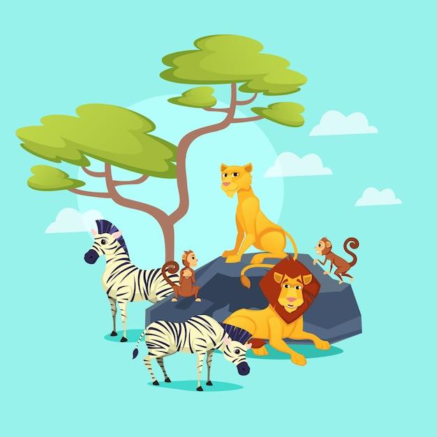 Animales del zoológico africano sobre fondo de naturaleza, vida silvestre Vector Premium