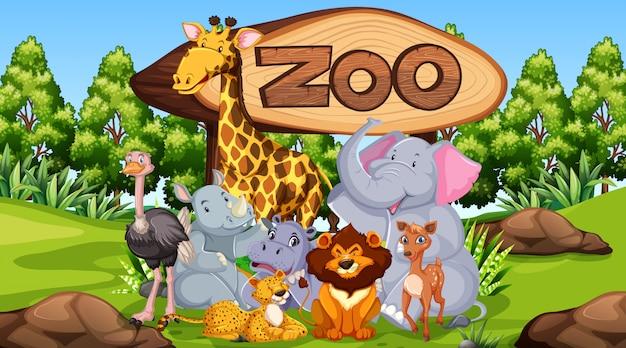 Animales del zoológico en el fondo de la naturaleza salvaje vector gratuito