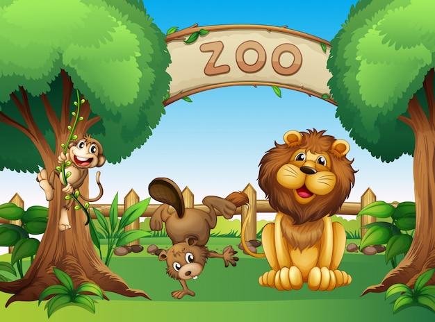 Animales en el zoologico vector gratuito