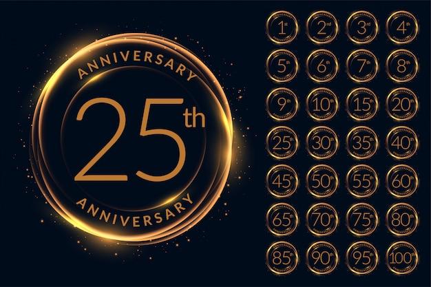 Aniversario conjunto de diseño de logotipo grande vector gratuito