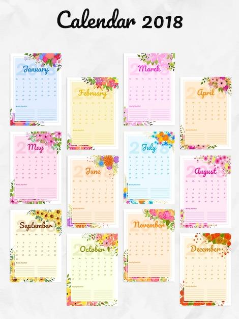 Año 2018, calendario de pared y organizador decorado con hermosas ...