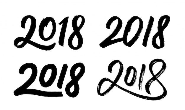 Año nuevo 2018 conjunto de números dibujados a mano | Descargar ...