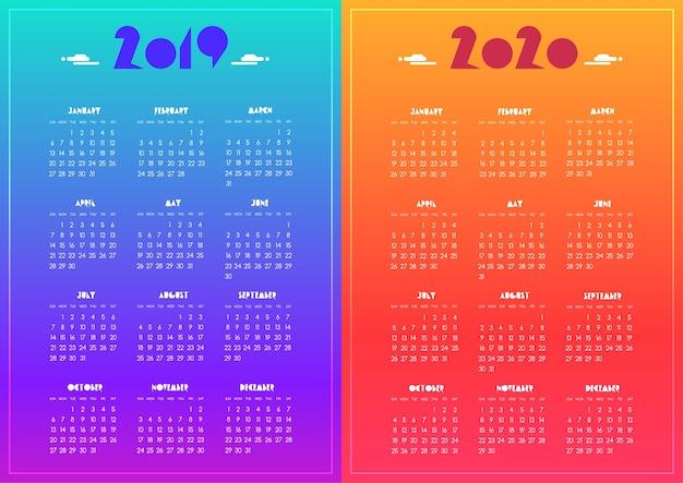 Ano 2020 Calendario.Ano Nuevo 2019 Y 2020 Calendario Moderno Vivido Azul
