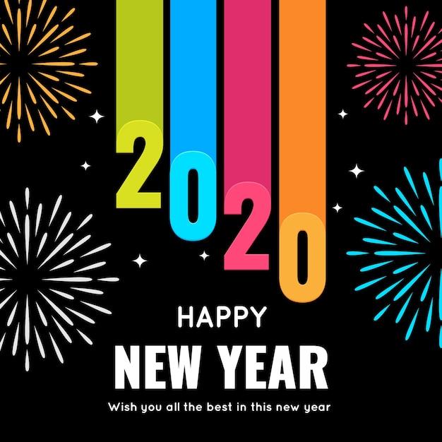 Año nuevo 2020 en diseño plano vector gratuito
