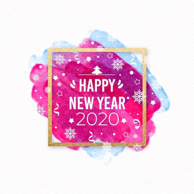 Año nuevo 2020 estilo acuarela vector gratuito