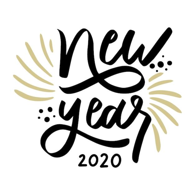 Año nuevo 2020 letras vintage vector gratuito