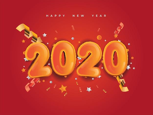 Año nuevo 2020 con números dorados, confeti de festivales, estrellas y cintas espirales sobre fondo rojo. Vector Premium