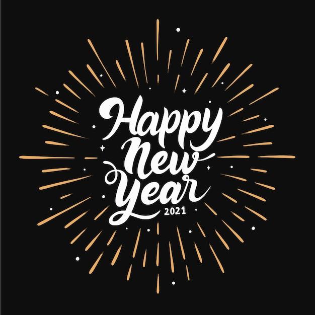 Año nuevo 2021 letras blancas vector gratuito