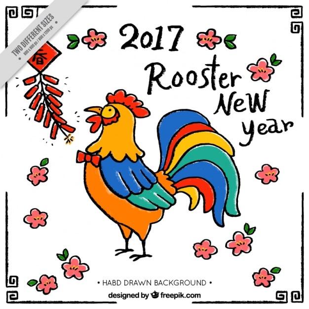 Año nuevo chino 2017, gallo vector gratuito