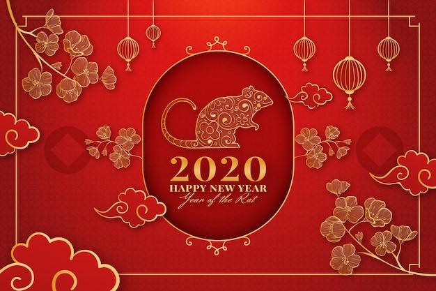 Año nuevo chino dibujado a mano vector gratuito