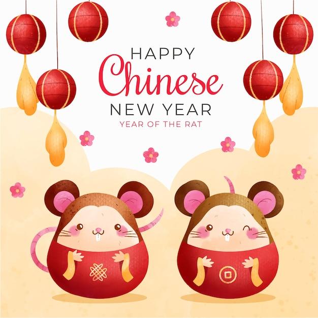 Año nuevo chino con ratones vector gratuito