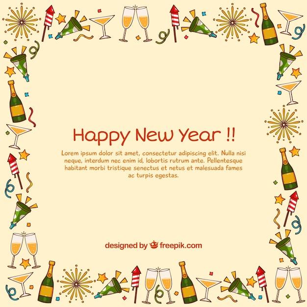 Año nuevo con marco dibujado a mano | Descargar Vectores gratis
