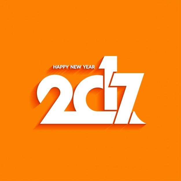 Año nuevo con un fondo naranja Vector Gratis