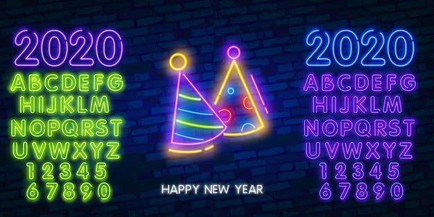 Año nuevo cono de sombrero de neón, fuegos artificiales y signo del alfabeto Vector Premium