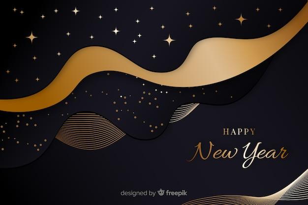 Año nuevo dorado 2020 y noche estrellada vector gratuito