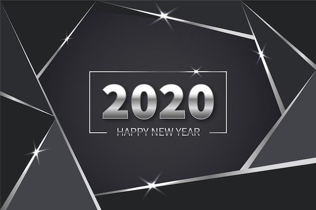 Año nuevo fondo plateado vector gratuito