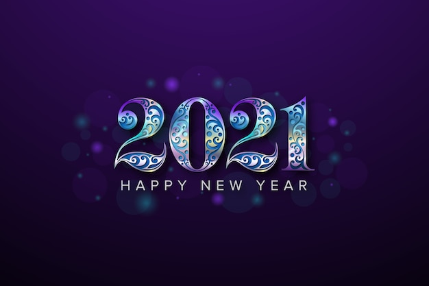 Año nuevo con número de belleza Vector Premium