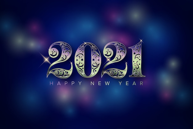 Año nuevo con número de luz Vector Premium
