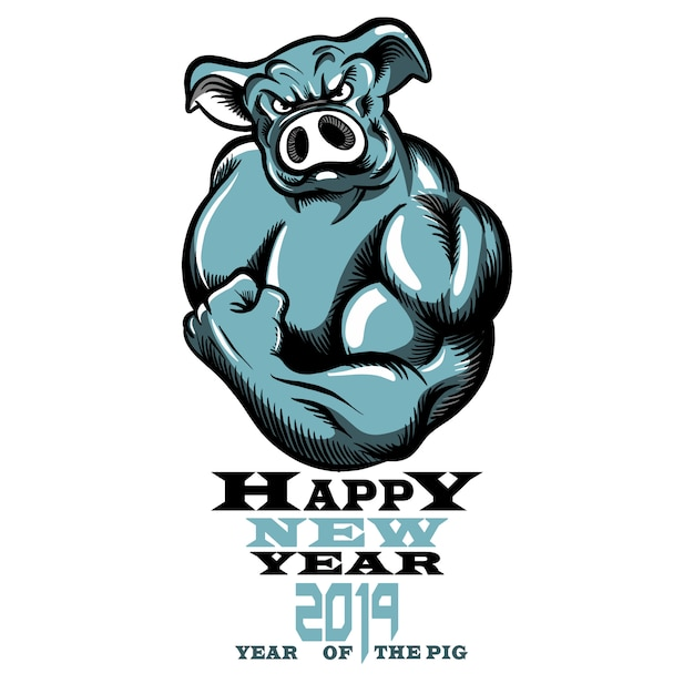 Año de signo del zodiaco chino de cerdo, ilustración vectorial de un cerdo fuerte y saludable con bíceps grandes. Vector Premium