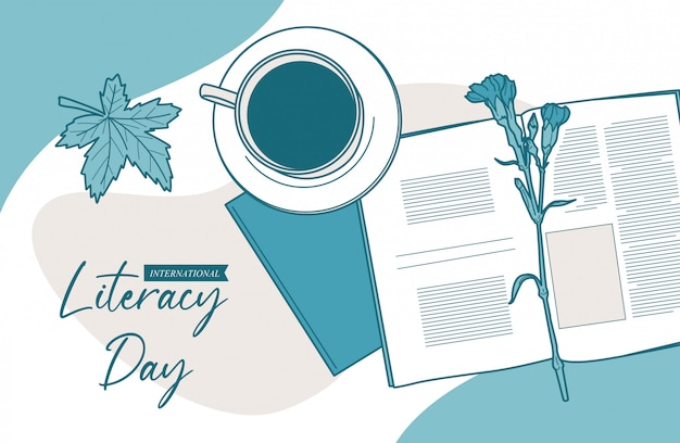 Antecedentes del día internacional de la alfabetización Vector Premium