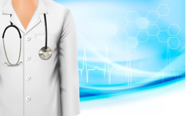 Antecedentes médicos con bata blanca de laboratorio de una doctora y un estetoscopio. Vector Premium