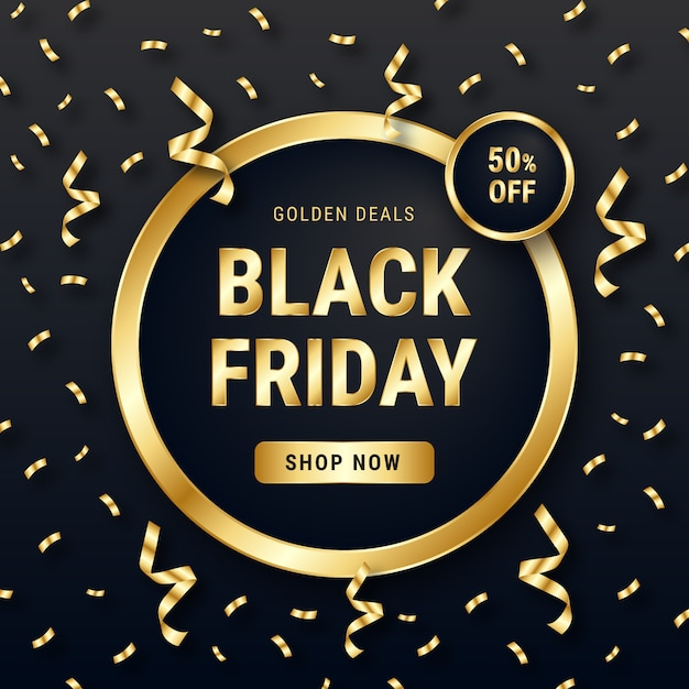 Antecedentes de la venta del viernes negro de lujo del confeti dorado vector gratuito