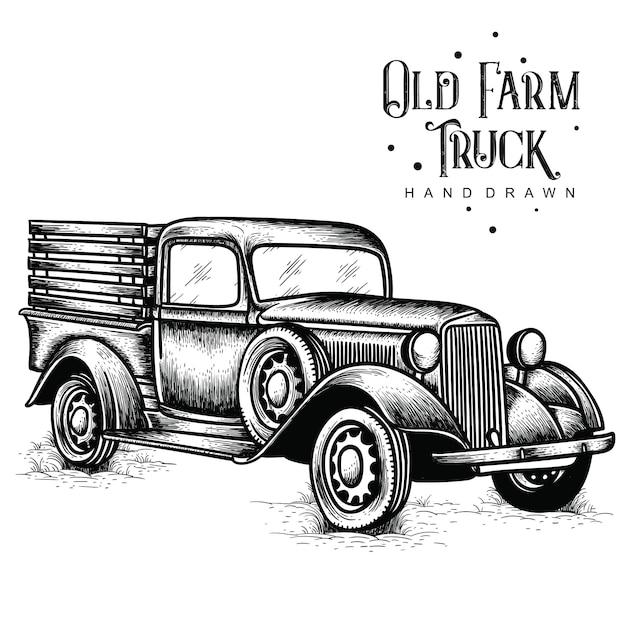 Antigua granja camión dibujado a mano Vector Premium