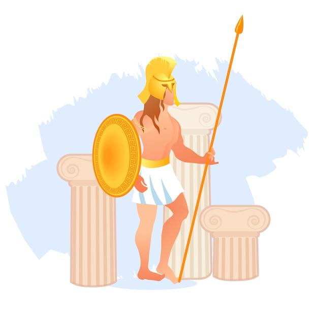 La antigua grecia, el dios olímpico de la guerra ares o marte Vector Premium