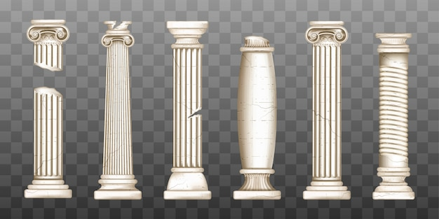 Antiguas columnas griegas rotas, pilares barrocos vector gratuito