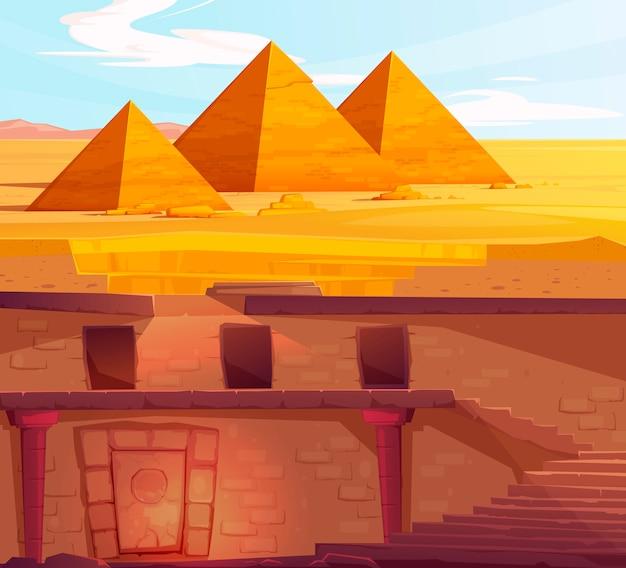 Antiguo egipto faraón subterráneo tumba perdida vector gratuito