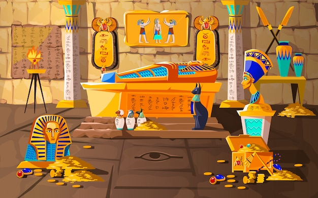 Antiguo egipto tumba de faraón cartoon vector gratuito