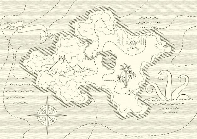 Antiguo mapa dibujado a mano con vintage Vector Premium