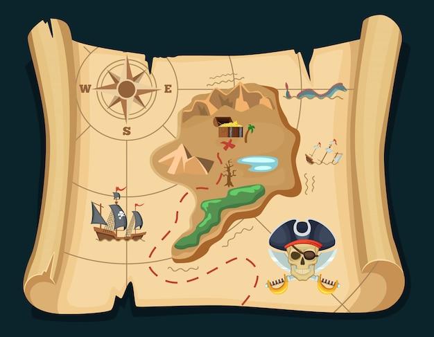 Antiguo mapa del tesoro para las aventuras piratas. isla con cofre viejo. ilustracion vectorial mapa del pirata del tesoro, aventura de viaje. Vector Premium