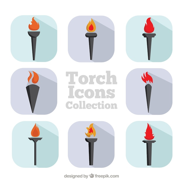 Antorcha colección de los iconos vector gratuito