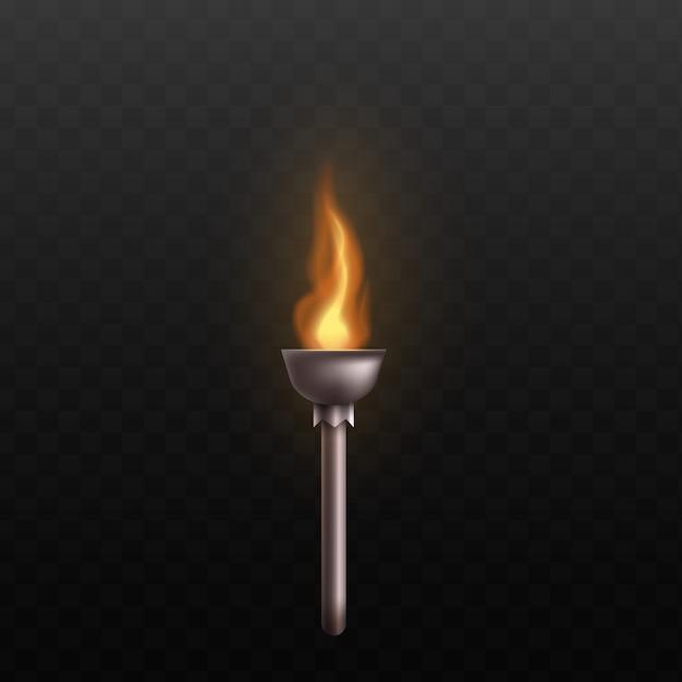 Antorcha de metal medieval con fuego ardiente - palo decorado de acero plateado con llama dorada caliente realista - Vector Premium