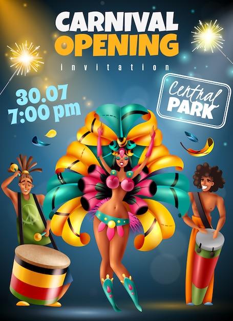 Anuncio anual de apertura del festival de carnaval brasileño cartel de invitación colorida con luces brillantes bailarines músicos disfraces ilustración vectorial vector gratuito