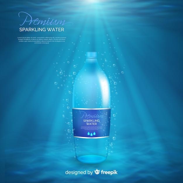 Anuncio de botella de agua realista vector gratuito