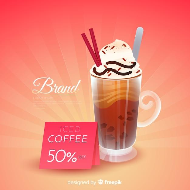 Anuncio de cafetería con diseño realista vector gratuito