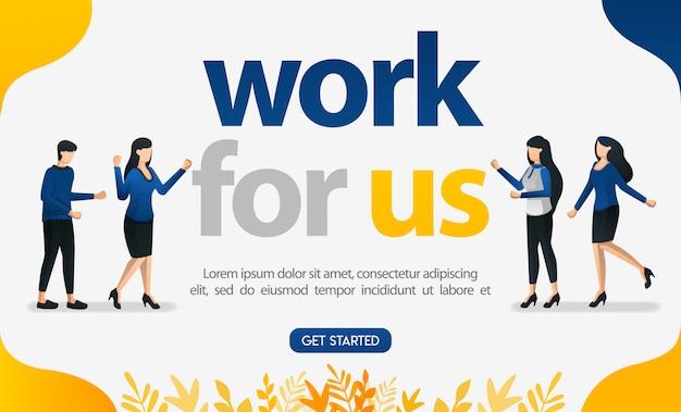Anuncio de cartel de reclutamiento de empleados con el tema trabaja con nosotros. Vector Premium