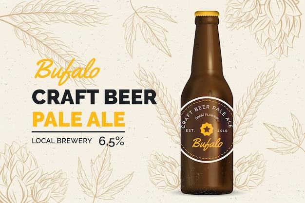 Anuncio de cerveza con ilustración vintage vector gratuito