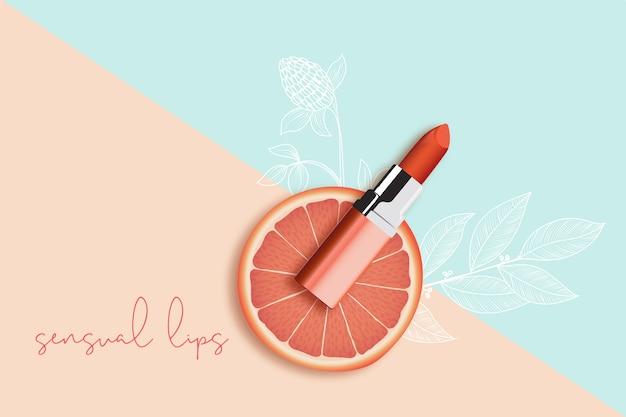 Anuncio cosmético de producto de lápiz labial vector gratuito