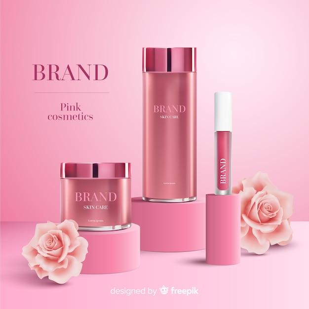 Anuncio de cosmeticos rosa vector gratuito