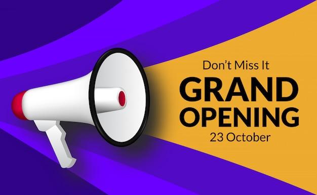 Anuncio de gran inauguración con altavoz megáfono. plantilla de banner de marketing flayer para negocios re ceremonia abierta. Vector Premium