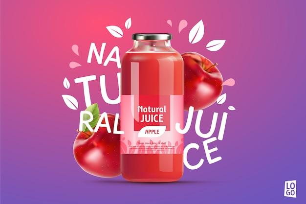 Anuncio de jugo de manzana con gradientes y letras vector gratuito