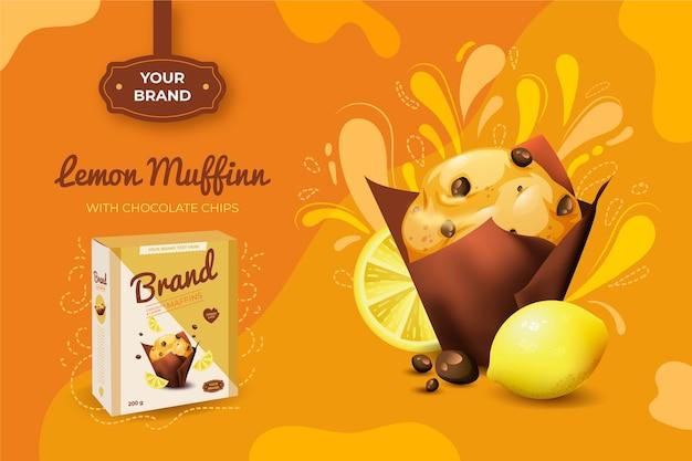Anuncio de muffin de limón vector gratuito