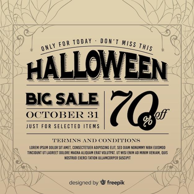 Anuncio de periódico de venta vintage de halloween vector gratuito