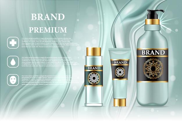 Anuncio de productos cosméticos de primera calidad. vector 3d ilustración. diseño de plantilla de botella de marca de cuidado de piel. maquillaje facial y corporal de crema y loción. Vector Premium