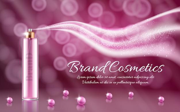 Anuncio realista 3d, promoción cosmética banner de esencia, simulacro con spray de vidrio y onda vector gratuito