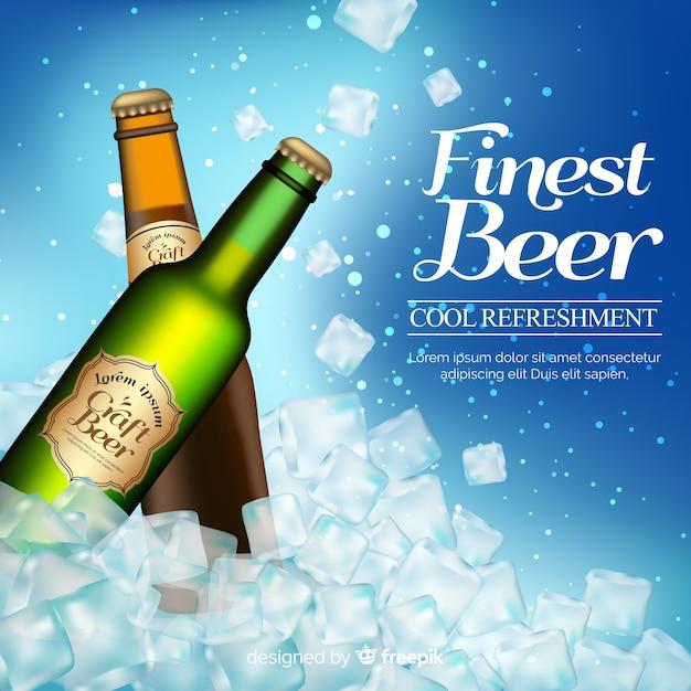 Anuncio realista cerveza vector gratuito